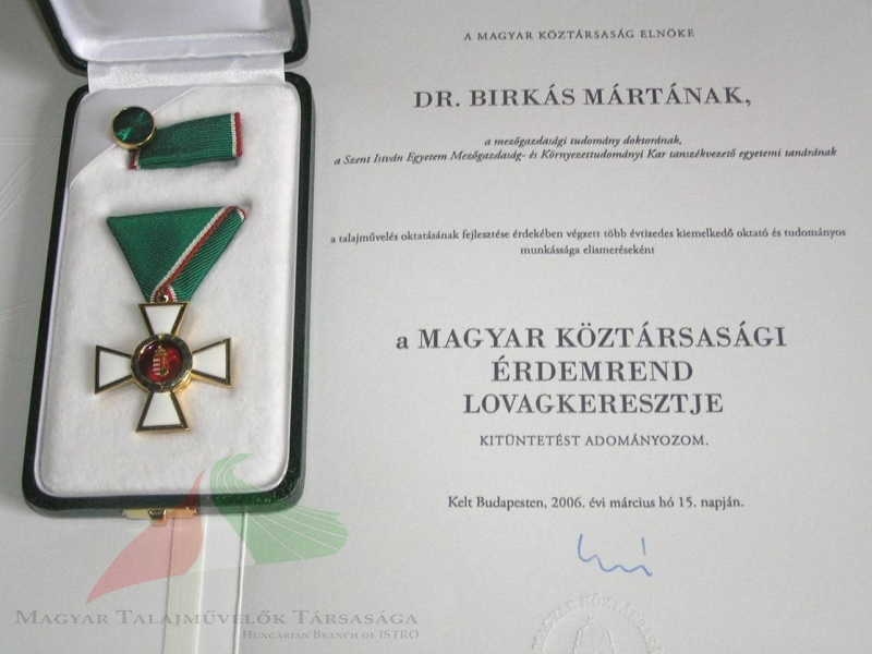 Márta Birkás's award