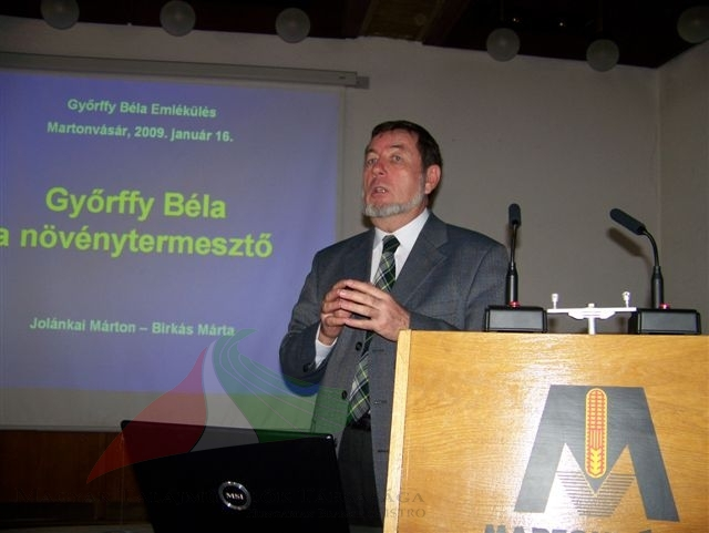 Márton Jolánkai in Béla Győrffy's memorial meeting